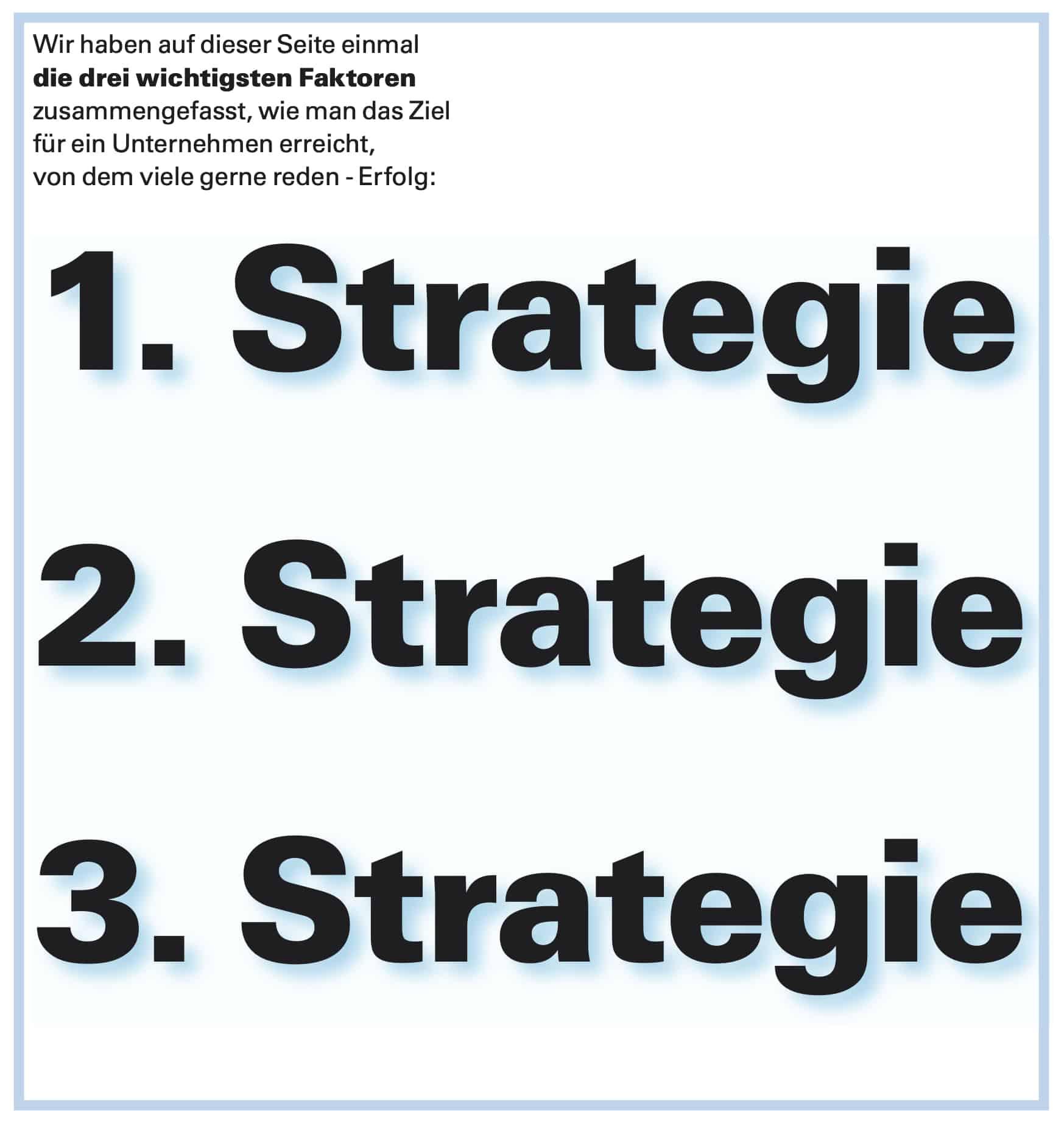 Strategie ist unser Thema:  Wir führen sie in 3 logischen und erprobten Schritten zu Ihrem Erfolg !