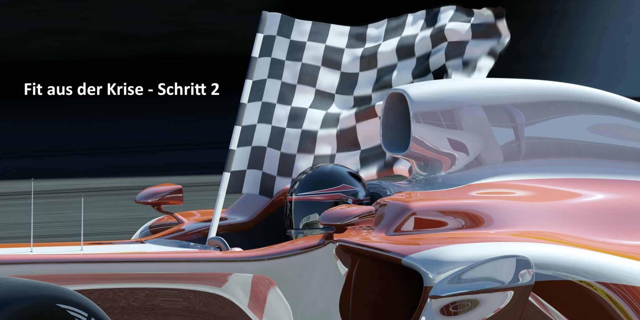 Close view of a formula one car on a race track with the driver carrying a winning checkered flag. Modelling and design are my own. Very high resolution 3D render.